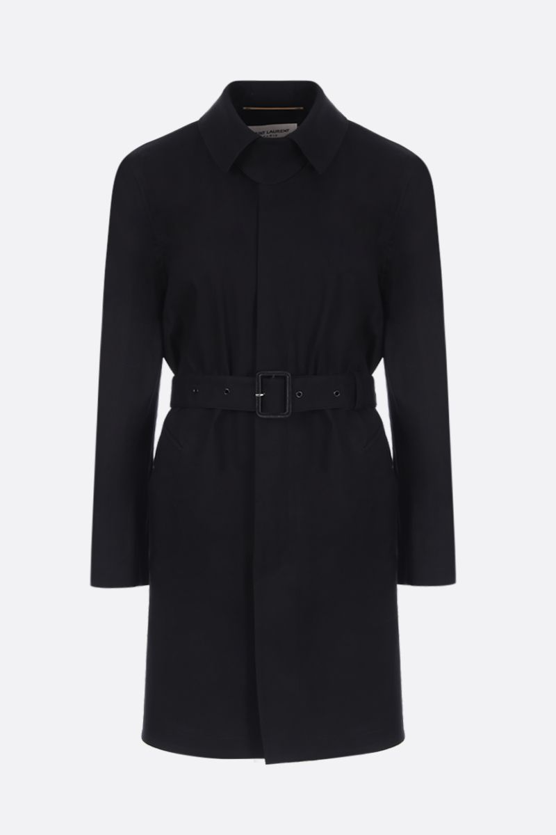 SAINT LAURENT: cotton single-breasted trench coat Color Black_1