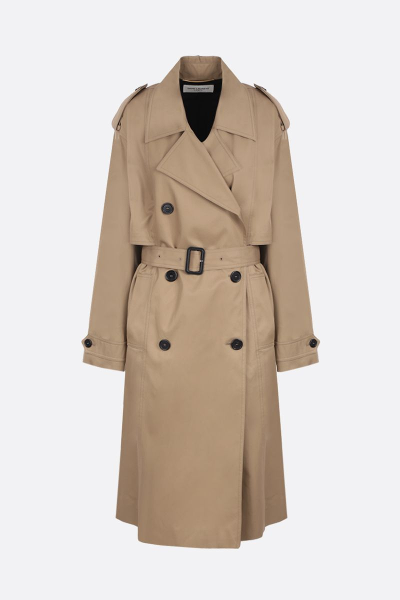 SAINT LAURENT: double-breasted trench coat in cotton gabardine Color Neutral_1