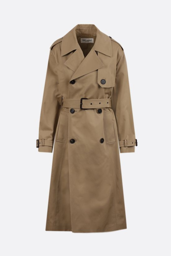 SAINT LAURENT: trench doppiopetto in twill tecnico Colore Neutro_1