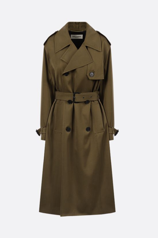 SAINT LAURENT: trench doppiopetto in twill tecnico Colore Marrone_1
