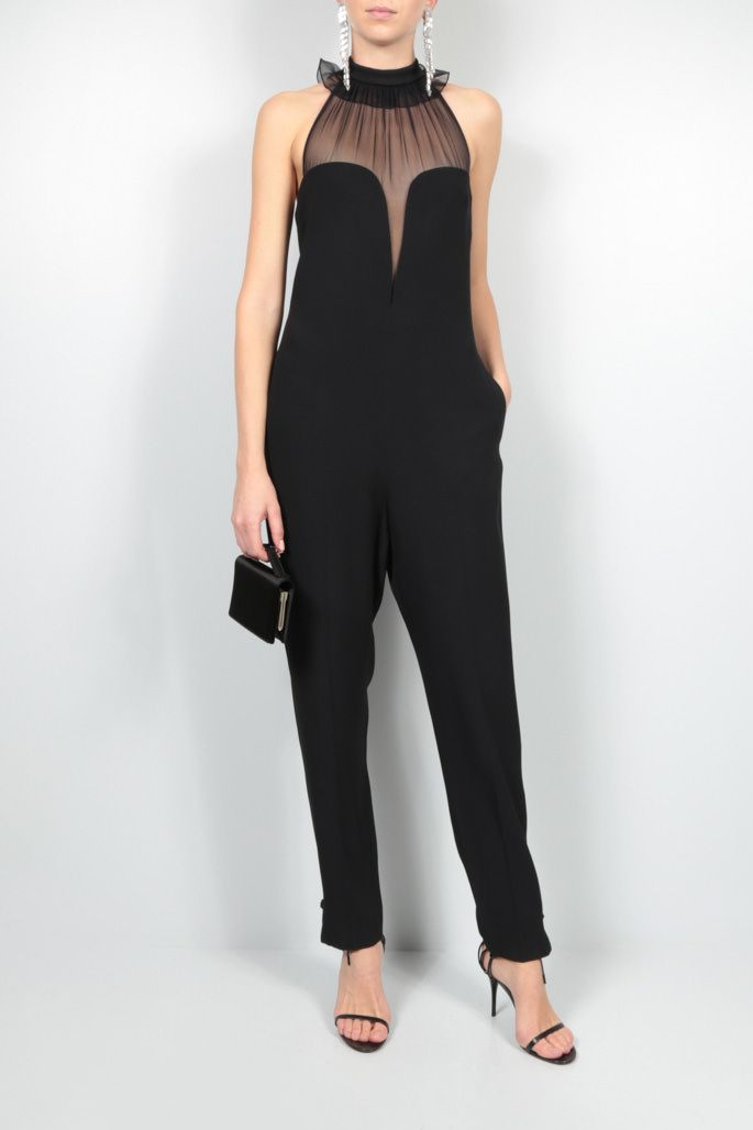 YVES SAINT LAURENT: sablè and chiffon jumpsuit Color Black_2