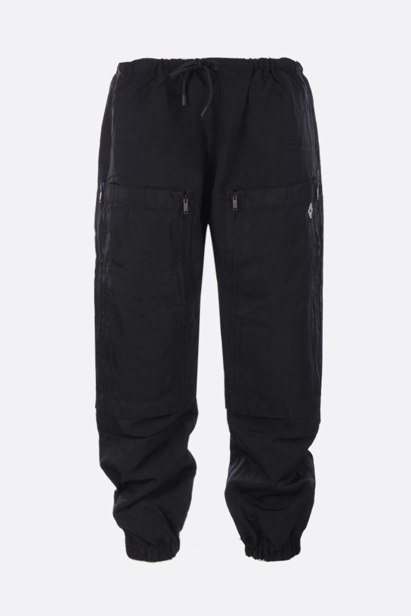 MARCELO BURLON COUNTY OF MILAN: pantalone jogging in nylon con logo ricamato Colore Nero_1