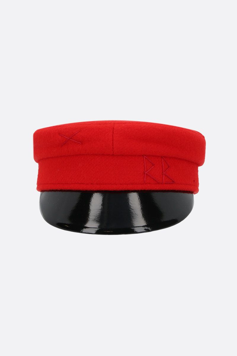 RUSLAN BAGINSKIY: wool felt baker boy cap Color Red_1