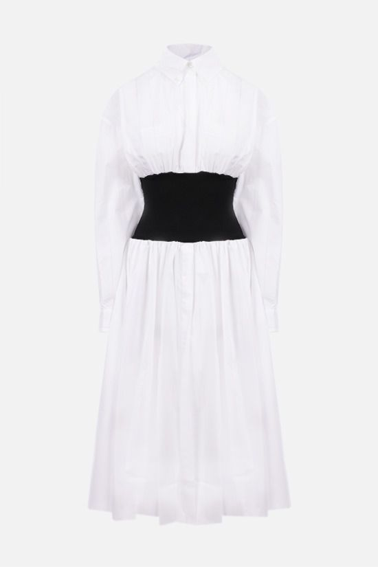 ALEXANDRE VAUTHIER: perforated stripe-detailed cotton shirt dress Color White_1