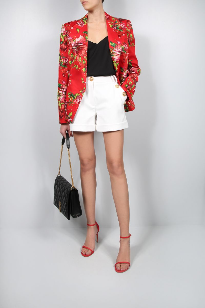 ALEXANDRE VAUTHIER: single-breasted floral print stretch cotton jacket Color Red_2