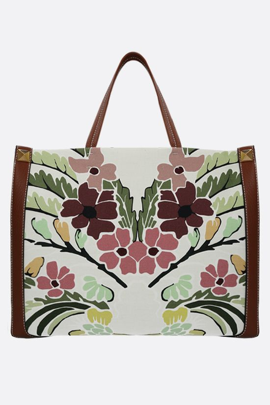 VALENTINO GARAVANI: World Arazzo printed canvas small tote bag Color Brown_1