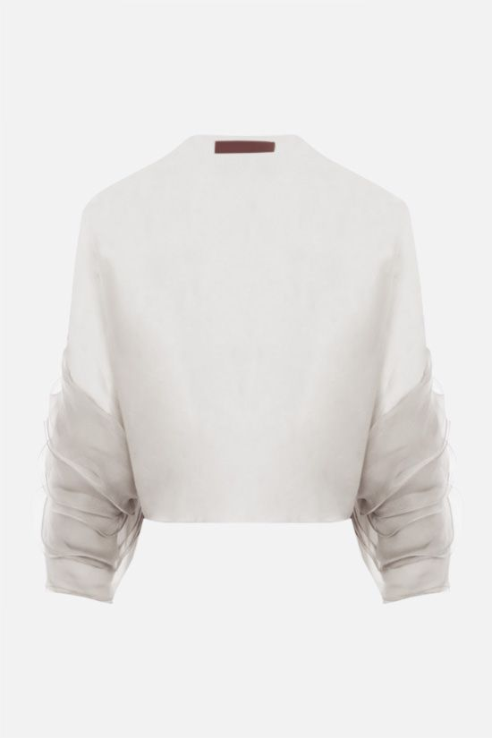 VALENTINO: silk chiffon shrug Color White_2