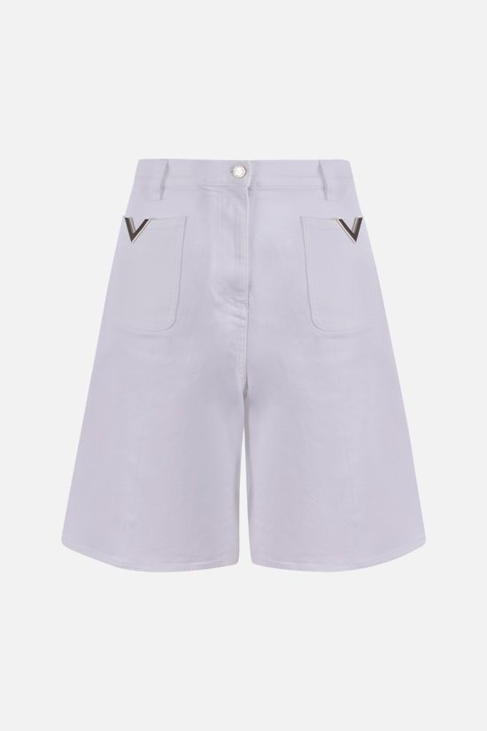 VALENTINO: V Gold stretch denim shorts Color White_1