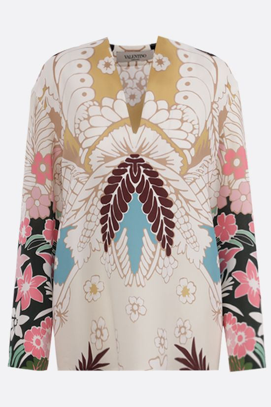 VALENTINO: Tropical World Arazzo print cady blouse Color Blue_1
