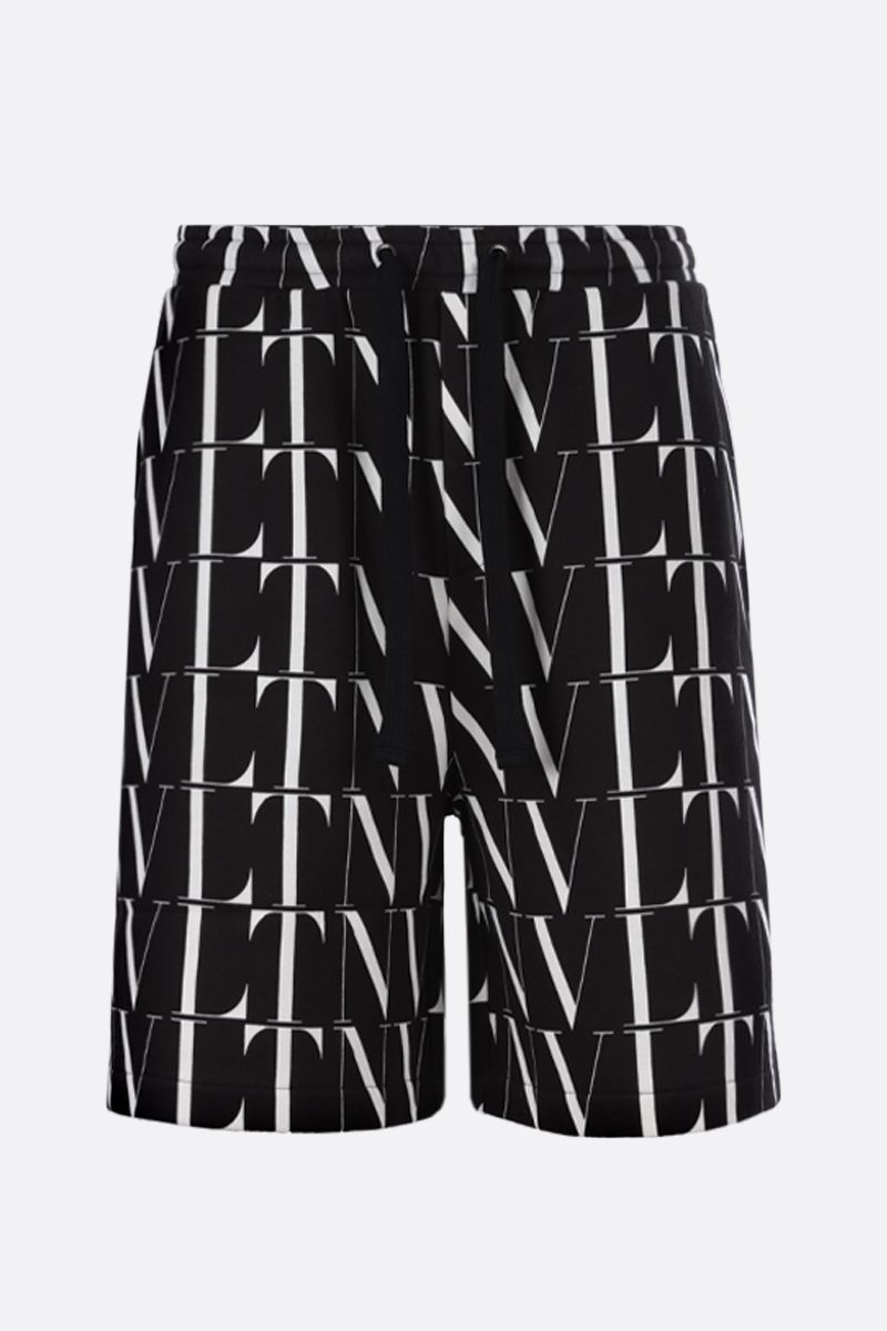 VALENTINO: VLTN TIMES print cotton blend shorts Color Black_1