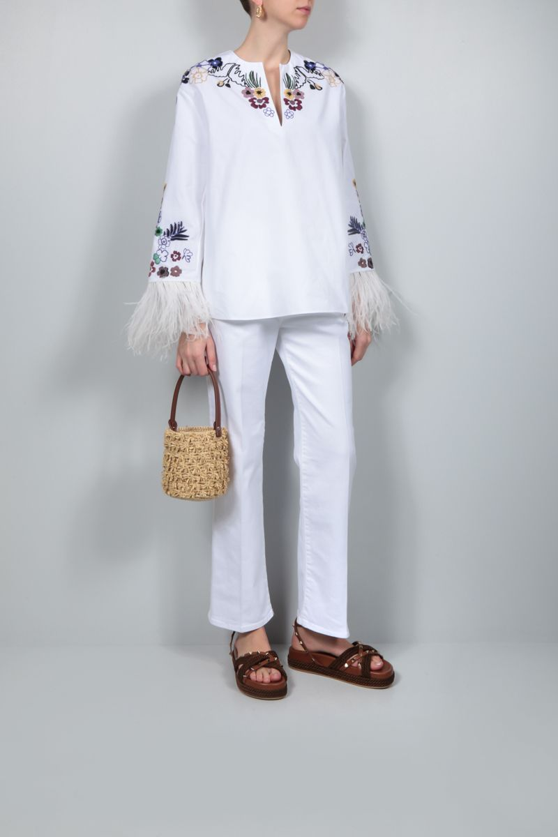 VALENTINO: World Arazzo embroidered cotton blouse Color Multicolor_2