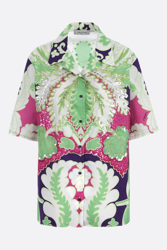 VALENTINO: poplin bowling shirt with World Arazzo print and embroidery Color Purple_1