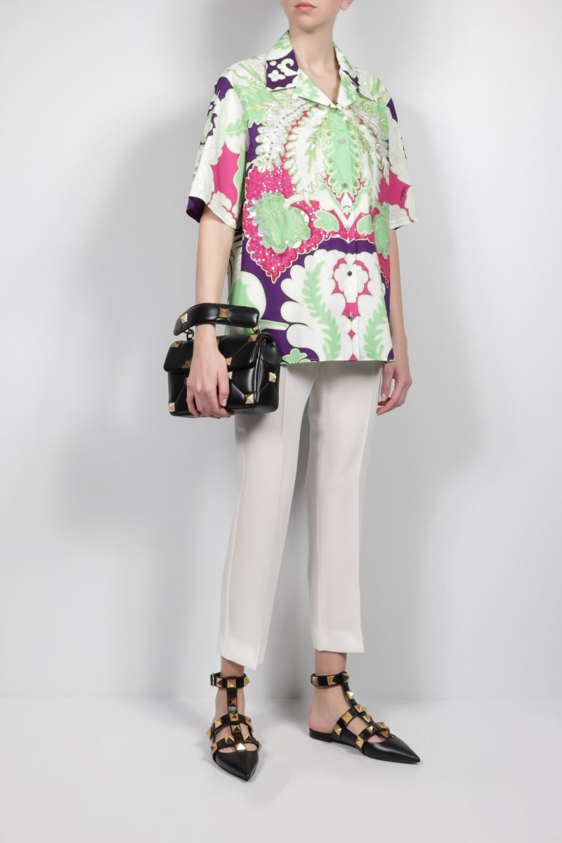 VALENTINO: poplin bowling shirt with World Arazzo print and embroidery Color Purple_2