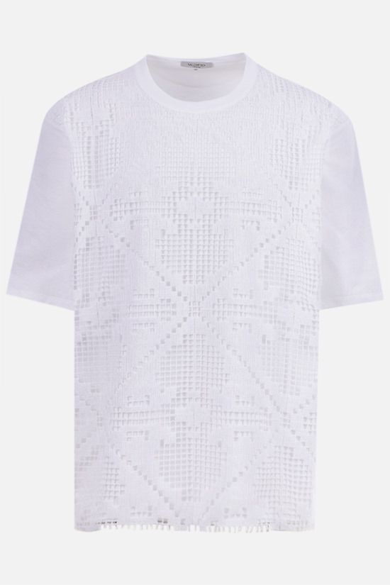 VALENTINO: oversize double layered lace and cotton t-shirt Color White_1