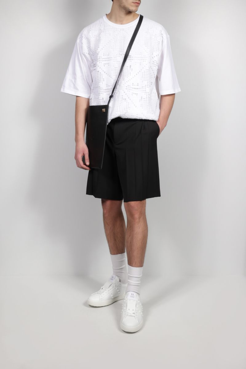 VALENTINO: oversize double layered lace and cotton t-shirt Color White_2