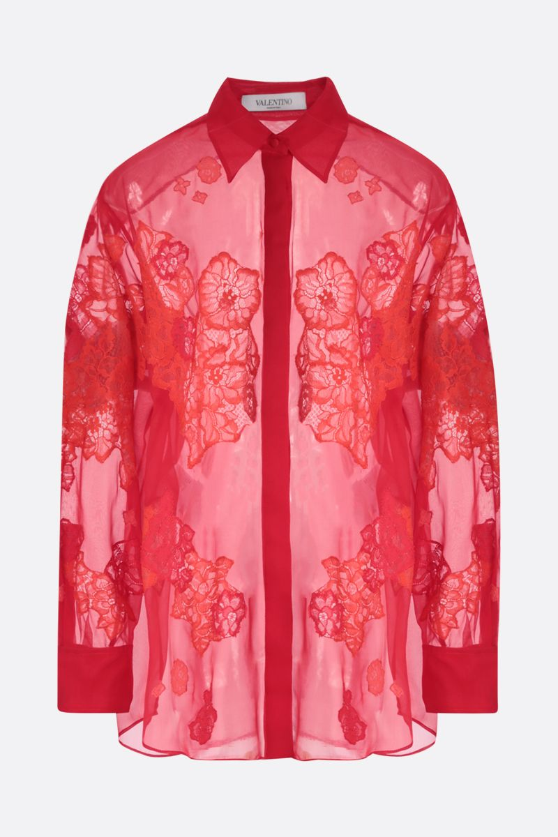 VALENTINO: floral embroidered chiffon shirt Color Red_1