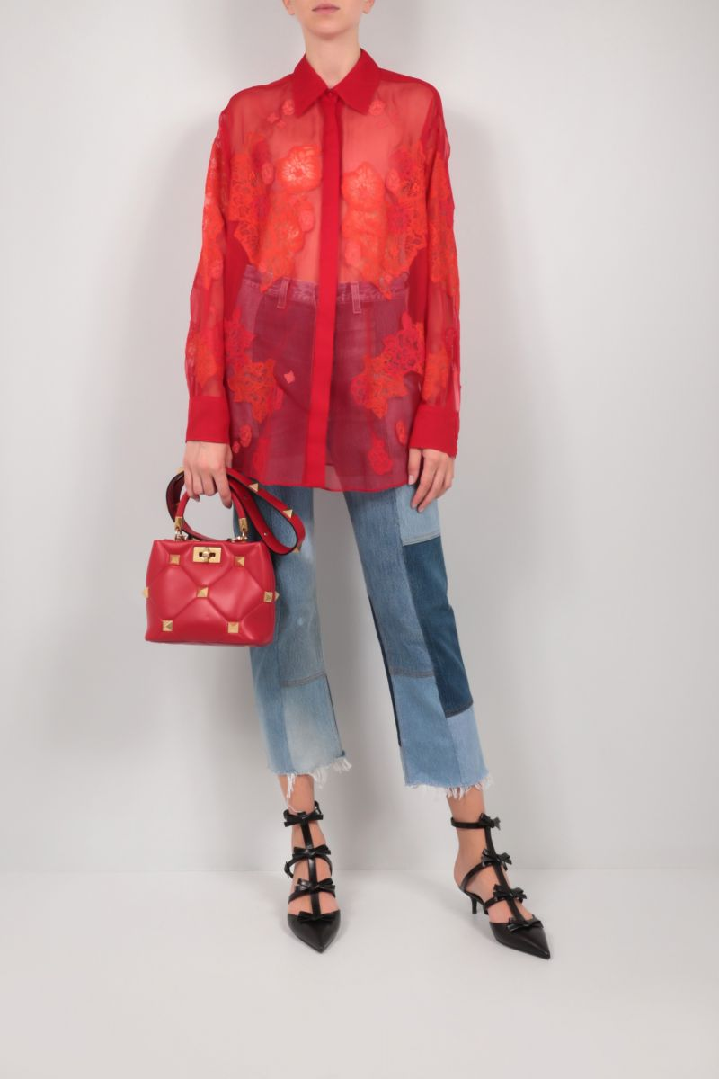 VALENTINO: floral embroidered chiffon shirt Color Red_2