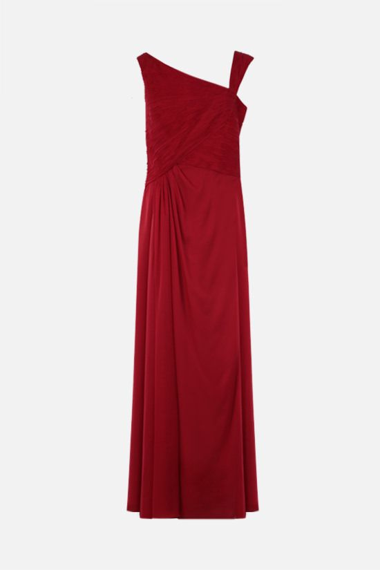VALENTINO: pleated bodice chiffon gown Color Red_1