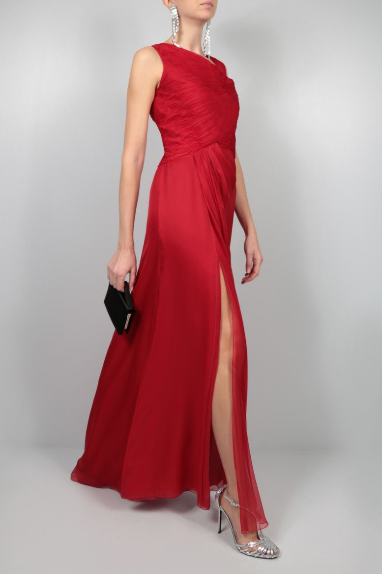 VALENTINO: pleated bodice chiffon gown Color Red_2