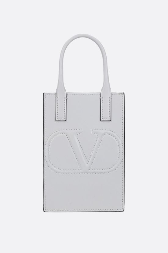 VALENTINO GARAVANI: VLOGO WALK shiny leather smartphone holder Color White_1