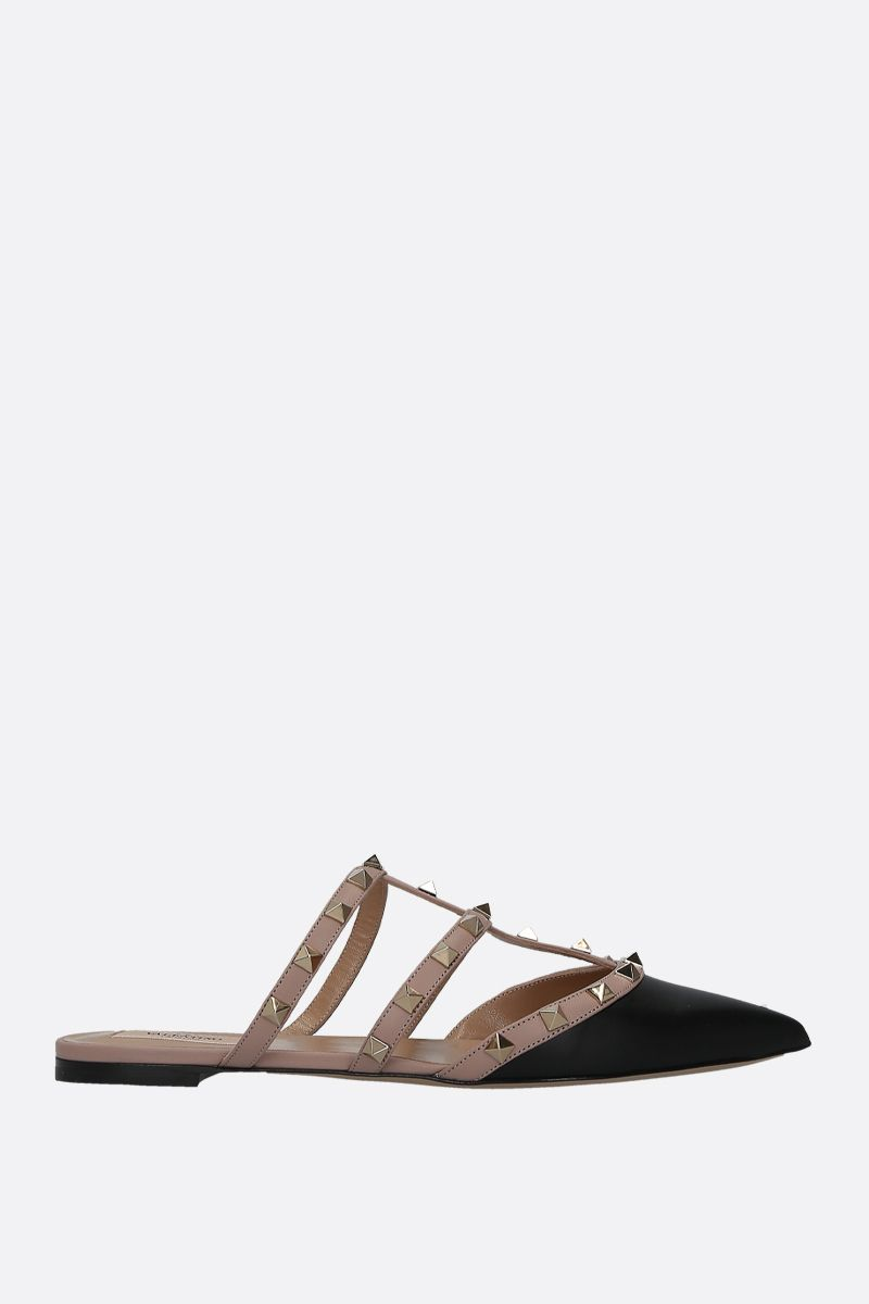 VALENTINO GARAVANI: Rockstud smooth leather slippers Color Black_1