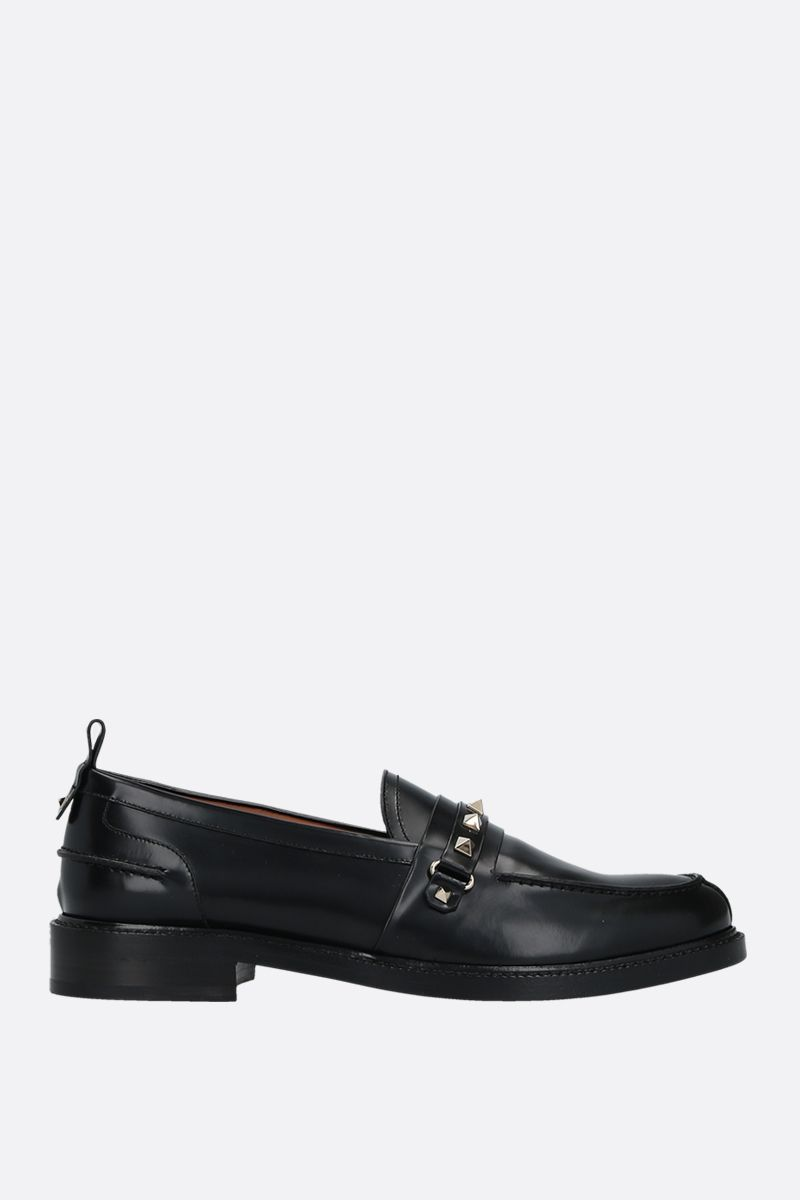 VALENTINO GARAVANI: Rockstud shiny leather loafers Color Black_1