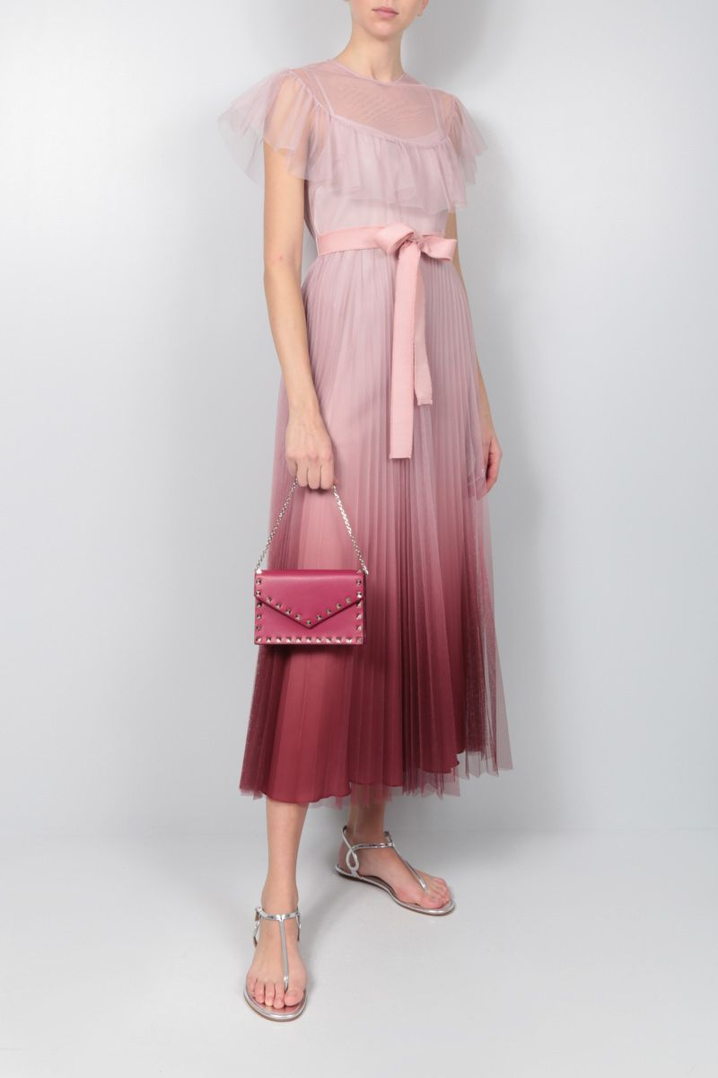RED VALENTINO: degradè tulle long dress Color Pink_2