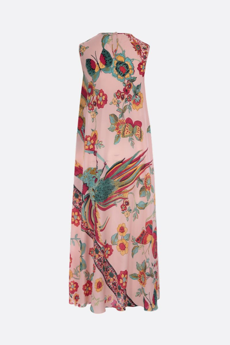 RED VALENTINO: printed crepe de chine long dress Color Neutral_2