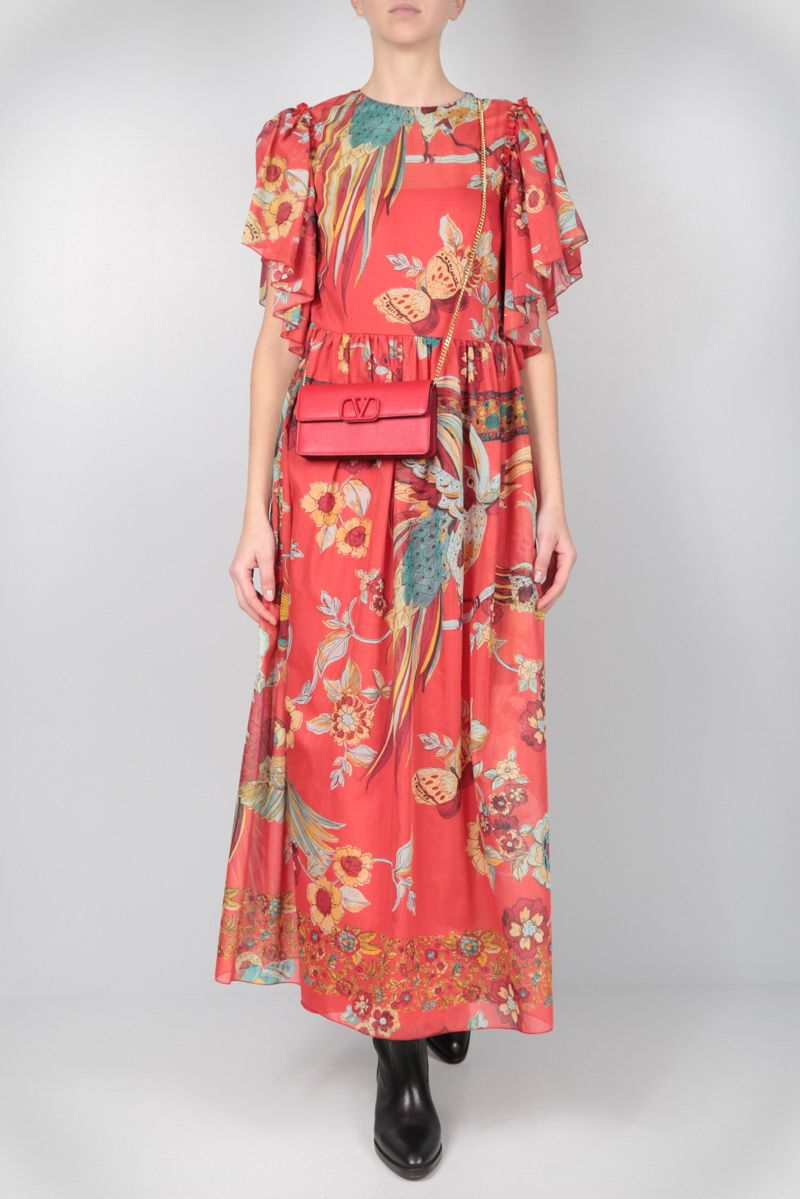 RED VALENTINO: printed cotton silk voile long dress Color Red_2
