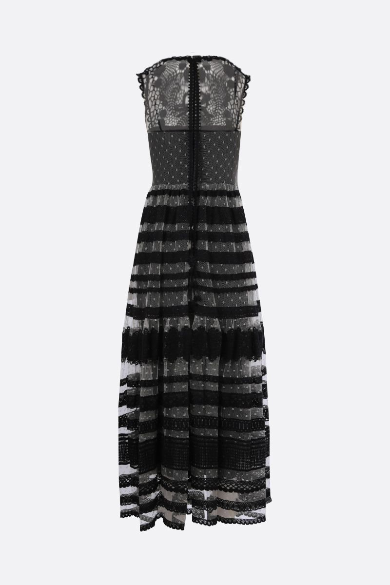 RED VALENTINO: tulle and macramè lace sleeveless dress Color Neutral_2