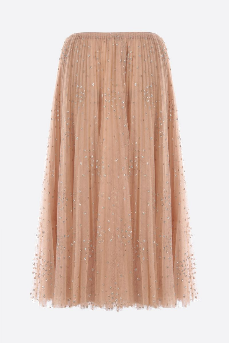 RED VALENTINO: glitter polka dot tulle pleated skirt Color Neutral_2