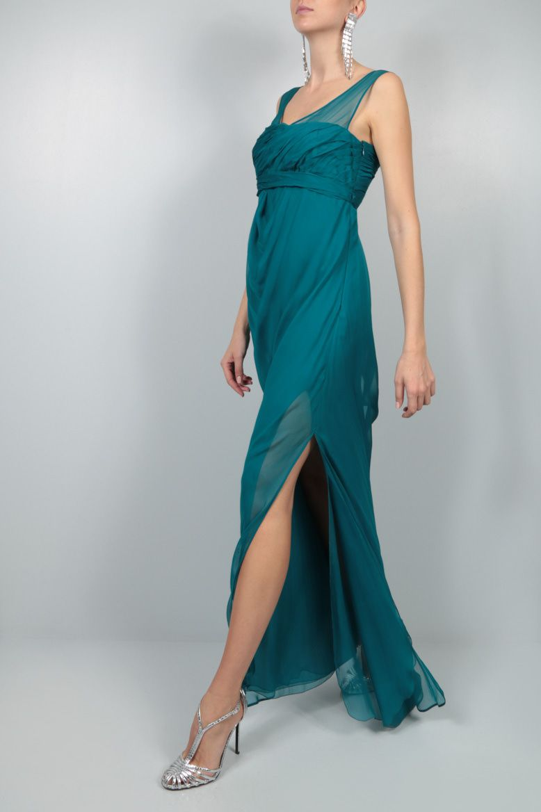 VALENTINO: draped bodice chiffon gown Color Green_2