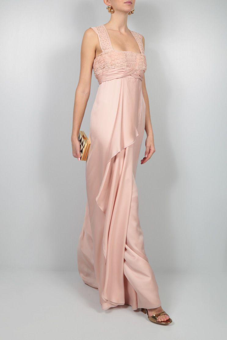 VALENTINO: embroidered bodice chiffon long dress Color Pink_2