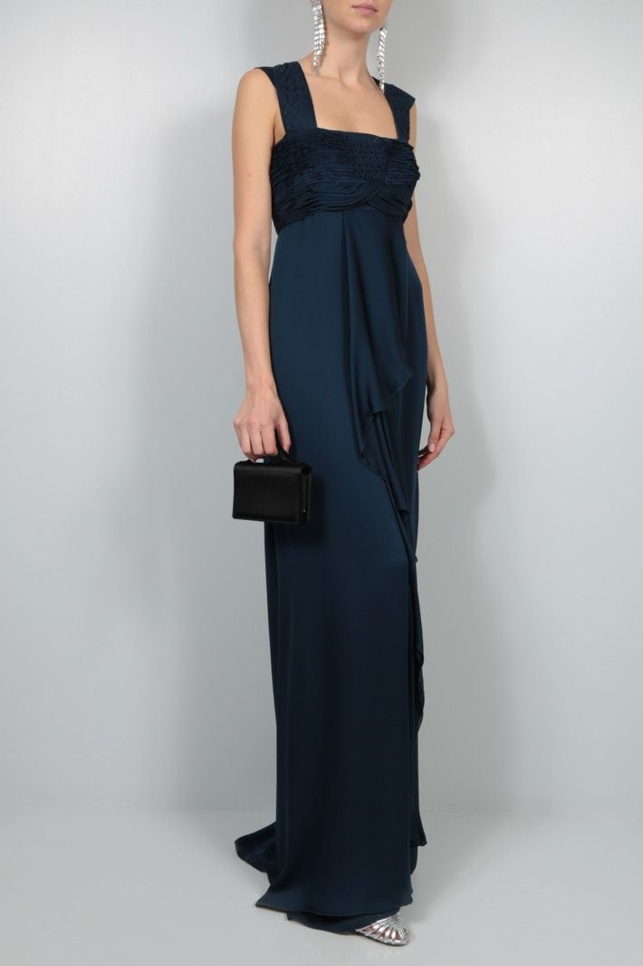 VALENTINO: embroidered bodice chiffon long dress Color Blue_2