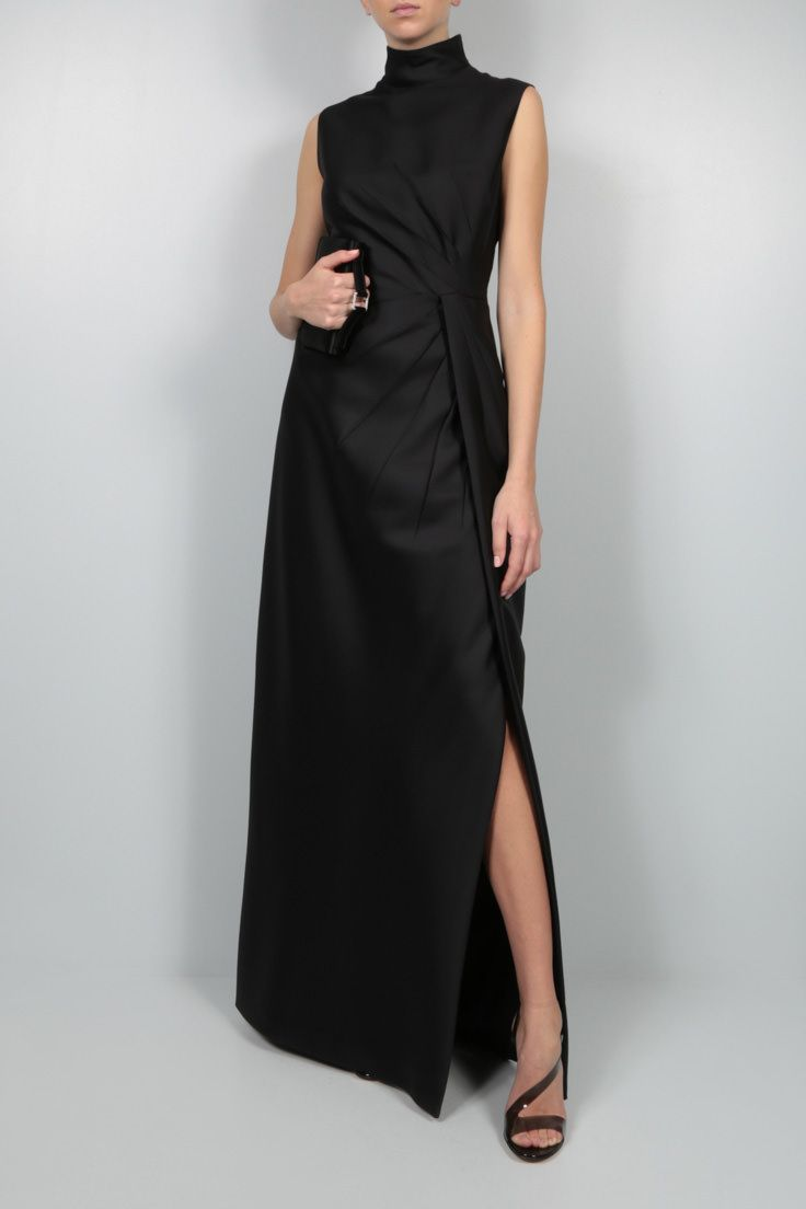 VALENTINO: draped cady evening gown Color Black_2