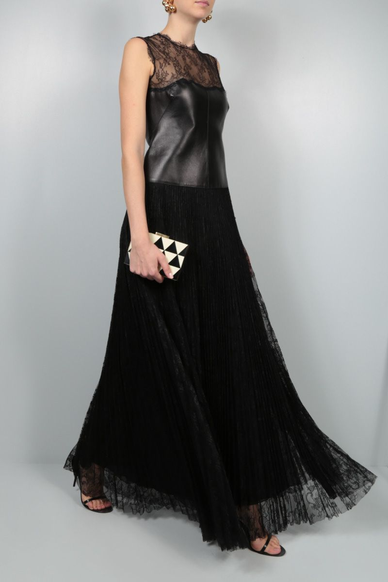 VALENTINO: lace and nappa evening gown Color Black_2