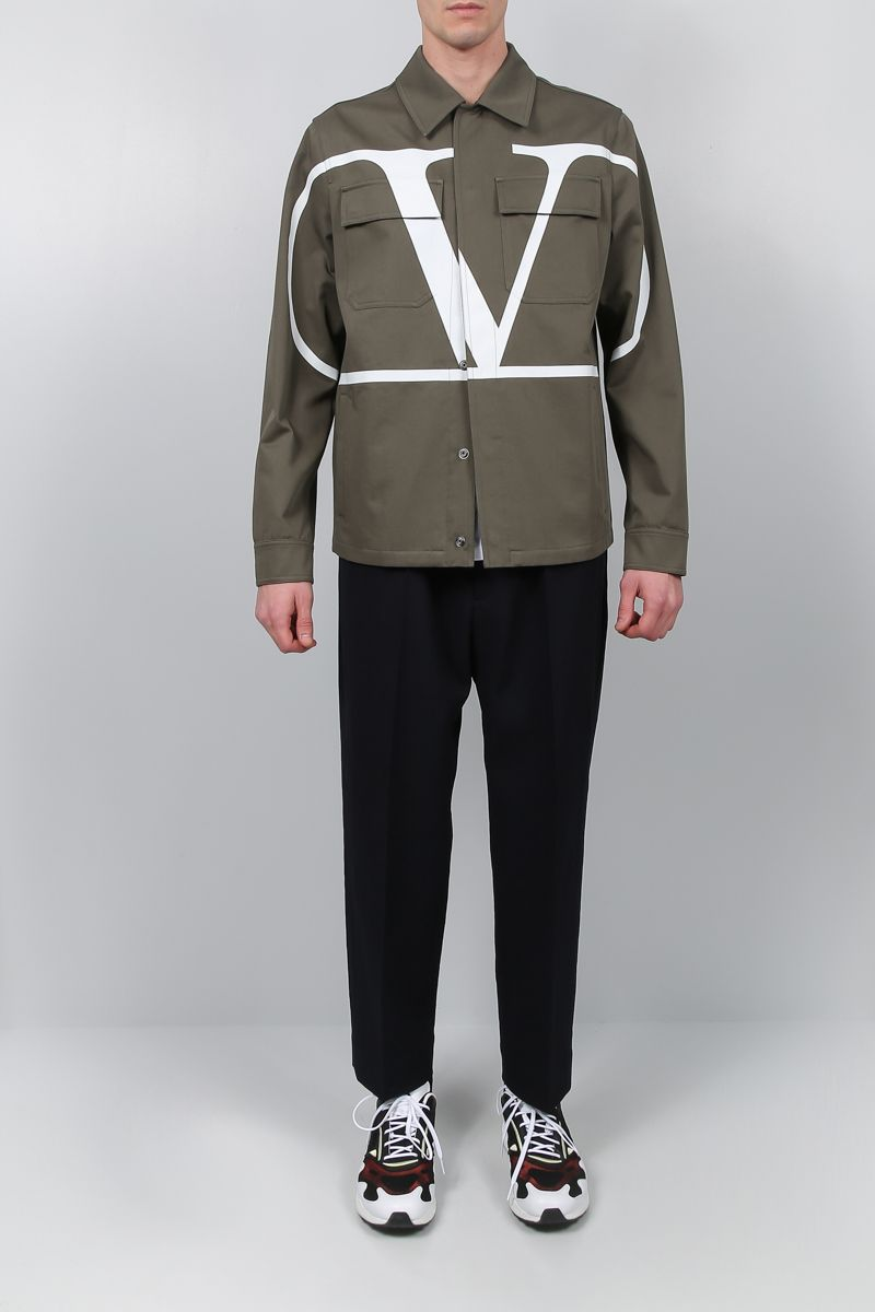 VALENTINO: VLOGO safari jacket in cotton gabardine Color Green_2