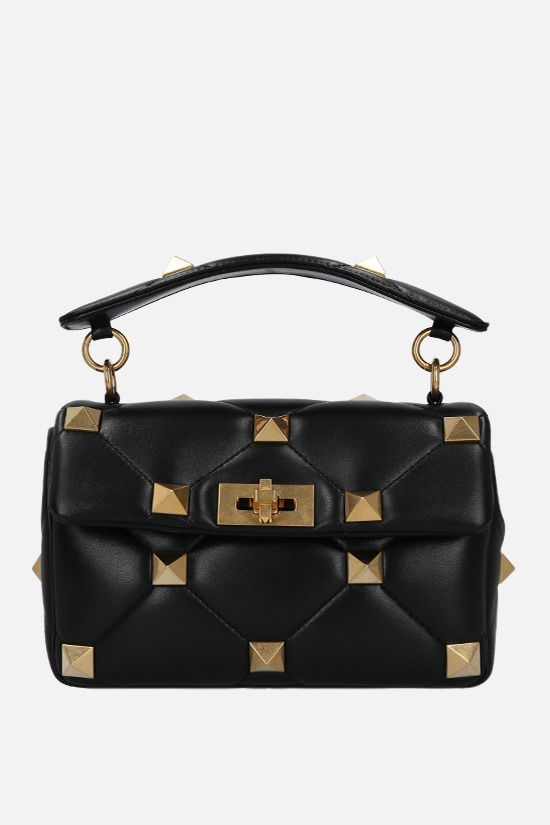 VALENTINO GARAVANI: Roman Stud medium quilted nappa crossbody bag Color Black_1