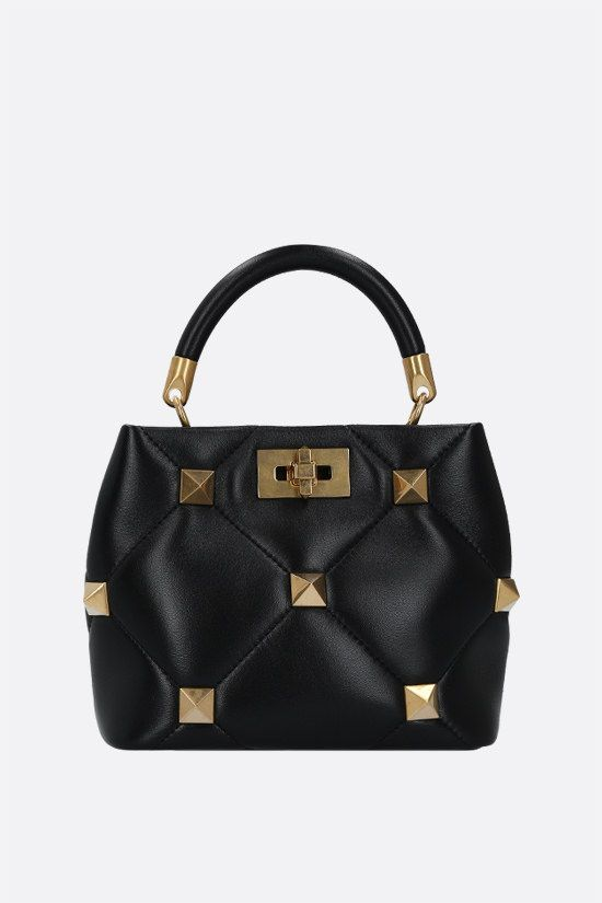 VALENTINO GARAVANI: Roman Stud small quilted nappa handbag Color Black_1