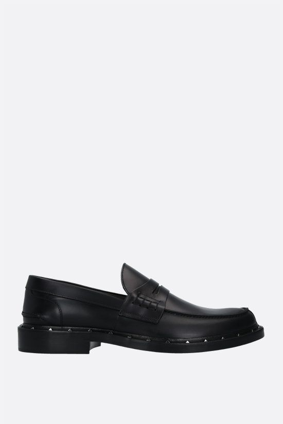 VALENTINO GARAVANI: shiny leather loafers Color Black_1