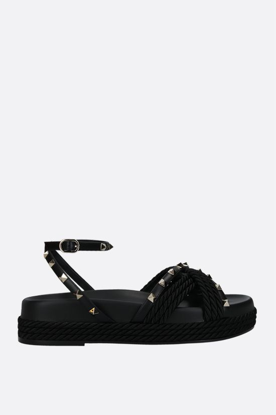 VALENTINO GARAVANI: Rockstud smooth leather and rope flatform sandals Color Black_1