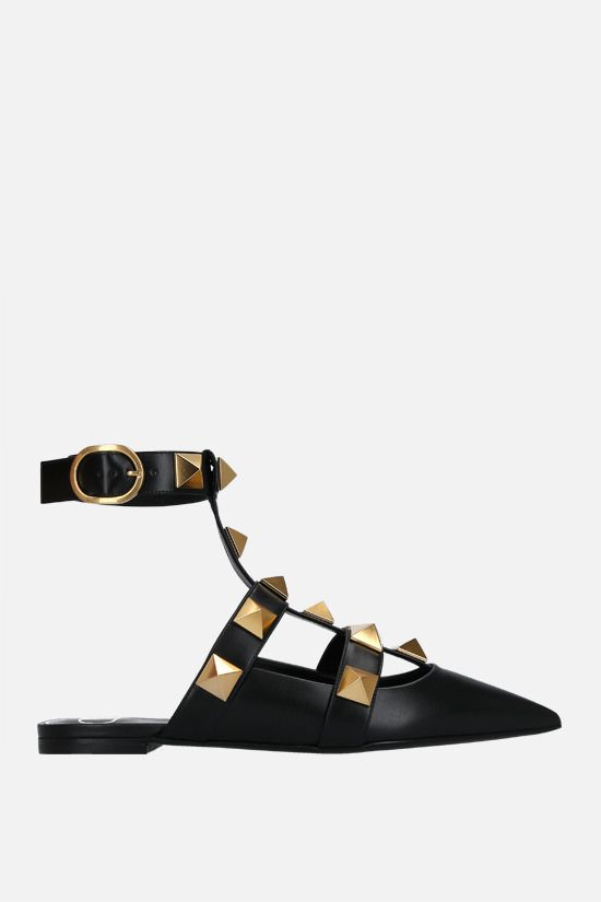 VALENTINO GARAVANI: Roman Stud smooth leather ballerinas Color Black_1