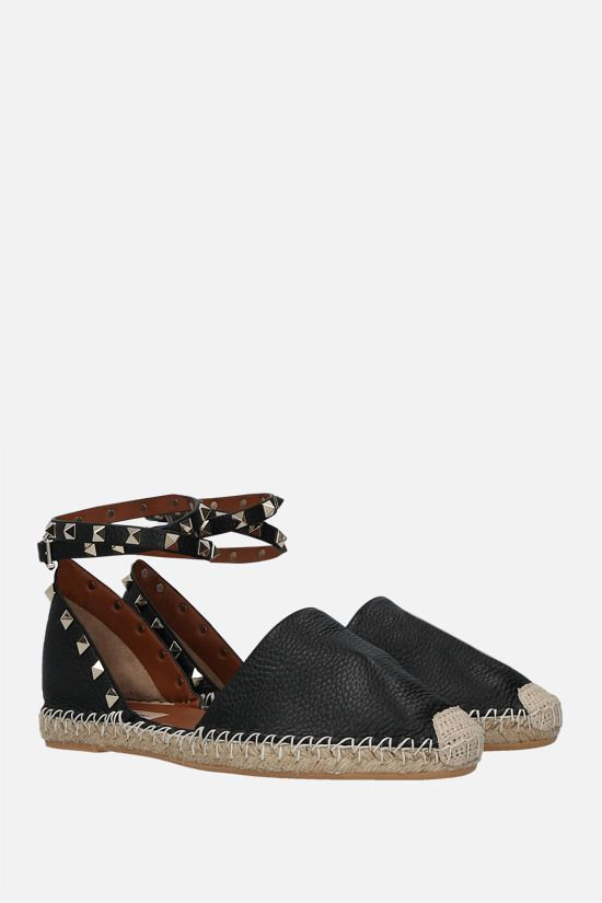 VALENTINO GARAVANI: Rockstud Double grainy leather espadrilles Color Black_2