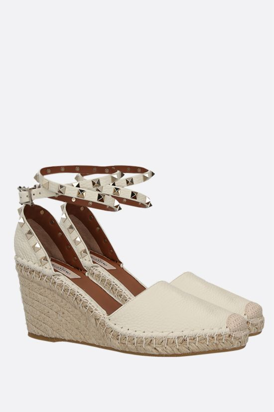 VALENTINO GARAVANI: Rokstud Double grainy leather wedge espadrilles Color Neutral_2