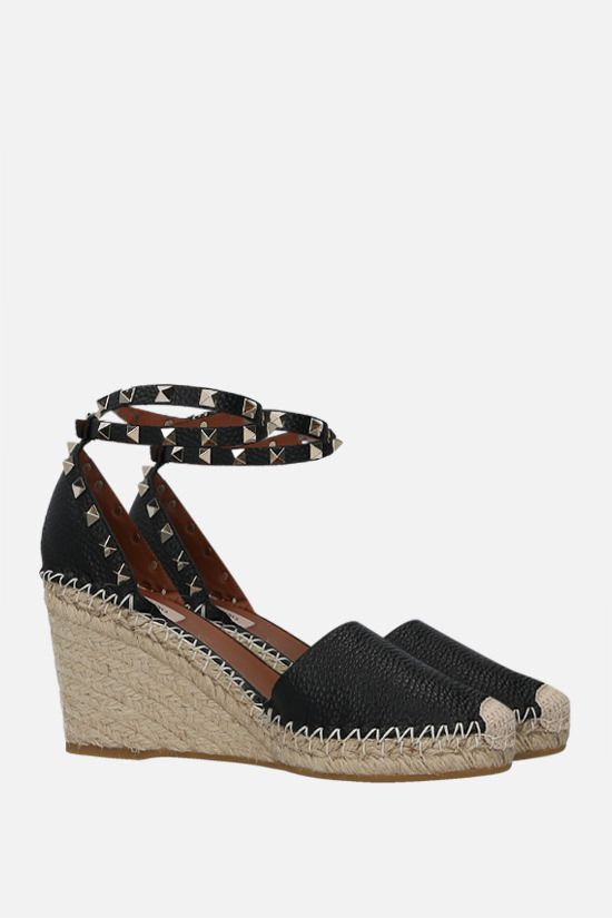VALENTINO GARAVANI: Rokstud Double grainy leather wedge espadrilles Color Black_2