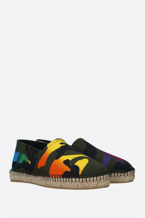VALENTINO GARAVANI: Multicolour Camouflage print canvas espadrilles Color Black_2