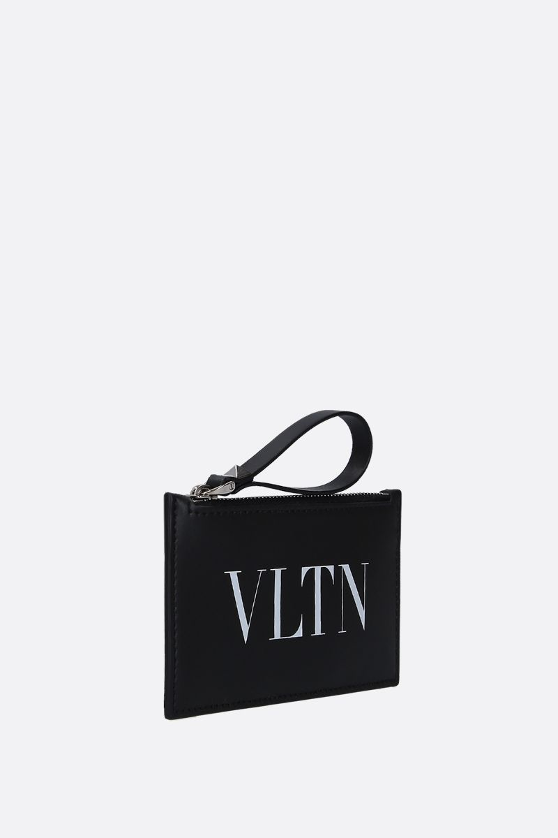VALENTINO GARAVANI: VLTN smooth leather zipped card case Color Black_2