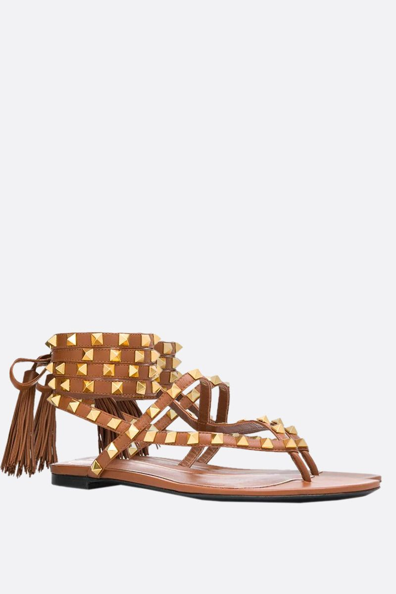 VALENTINO GARAVANI: Rockstud Flair smooth leather thong sandals_2