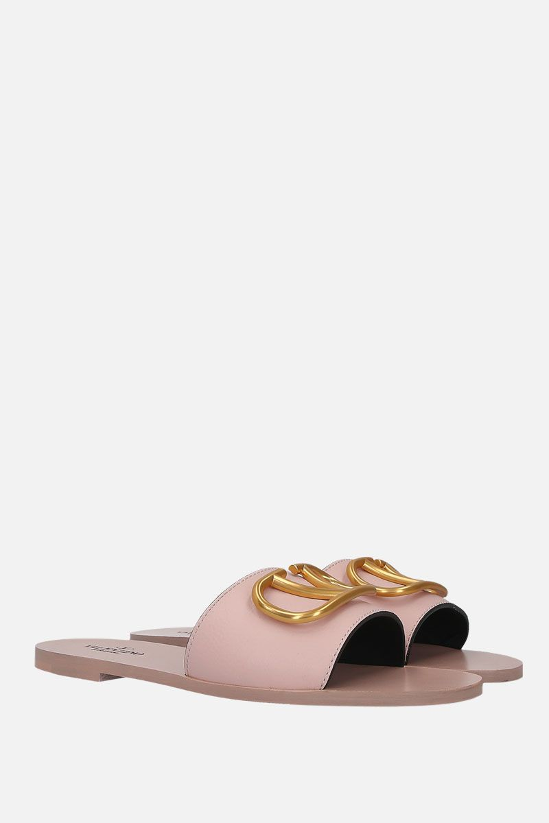 VALENTINO GARAVANI: VLOGO grainy leather flat sandals_2