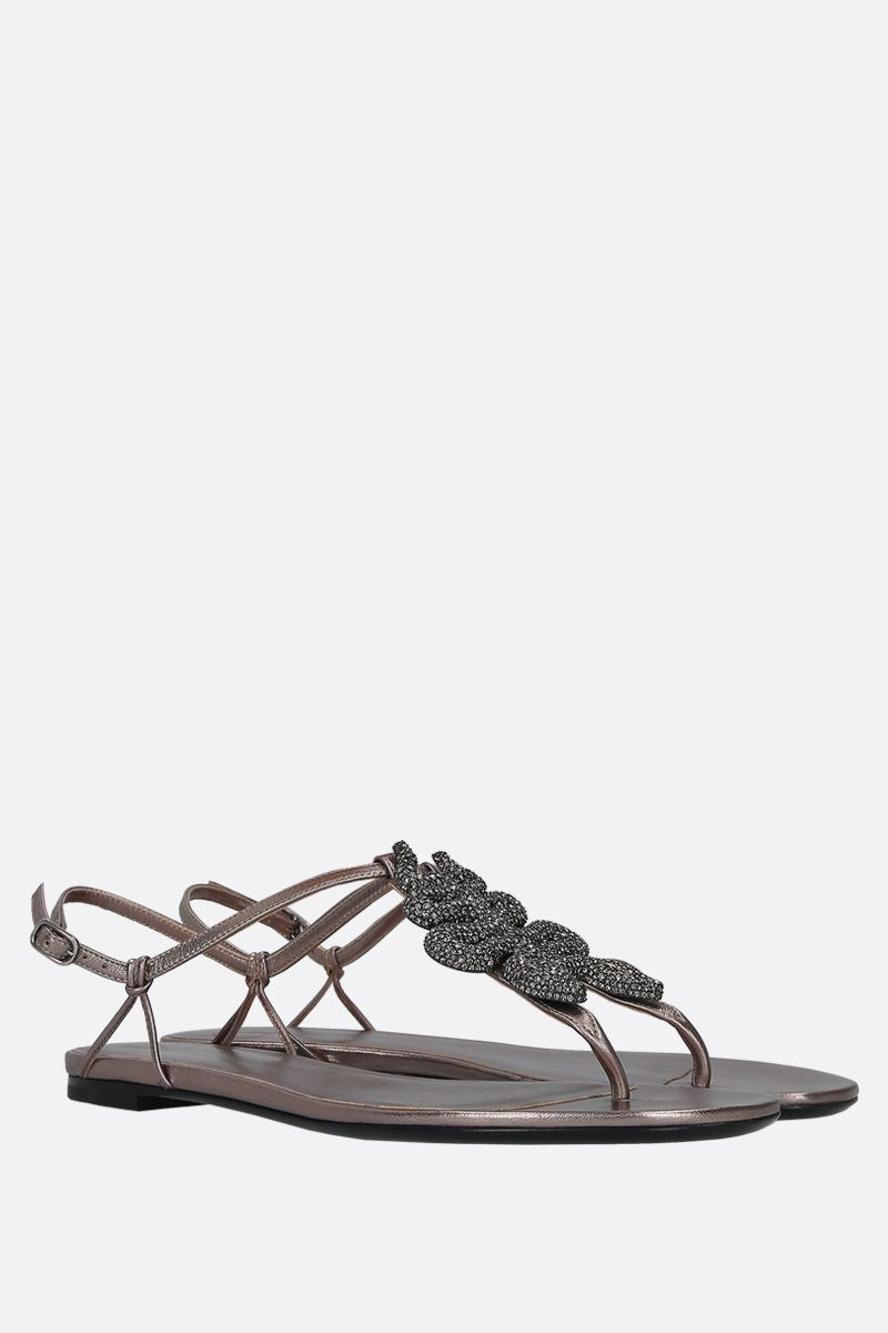 VALENTINO GARAVANI: jewel-detailed laminated leather thong sandals Color Silver_3